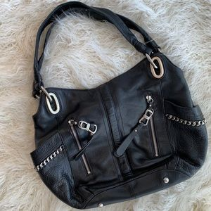 B. Makowsky Leather Alice Shopper Black Purse